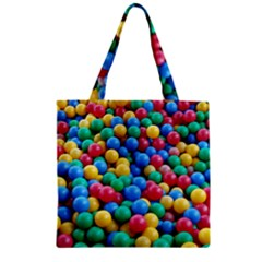 Funny Colorful Red Yellow Green Blue Kids Play Balls Zipper Grocery Tote Bag
