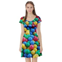 Funny Colorful Red Yellow Green Blue Kids Play Balls Short Sleeve Skater Dress