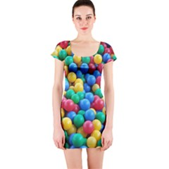 Funny Colorful Red Yellow Green Blue Kids Play Balls Short Sleeve Bodycon Dress