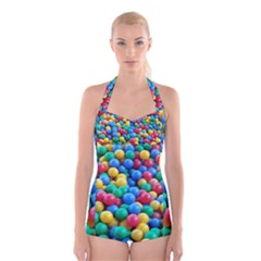 Funny Colorful Red Yellow Green Blue Kids Play Balls Boyleg Halter Swimsuit