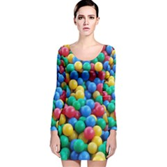 Funny Colorful Red Yellow Green Blue Kids Play Balls Long Sleeve Velvet Bodycon Dress
