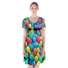 Funny Colorful Red Yellow Green Blue Kids Play Balls Short Sleeve V Neck Flare Dress