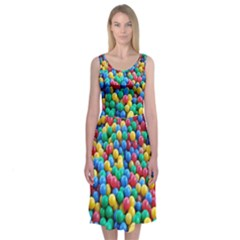 Funny Colorful Red Yellow Green Blue Kids Play Balls Midi Sleeveless Dress