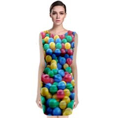 Funny Colorful Red Yellow Green Blue Kids Play Balls Classic Sleeveless Midi Dress