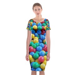 Funny Colorful Red Yellow Green Blue Kids Play Balls Classic Short Sleeve Midi Dress
