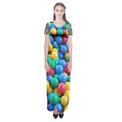 Funny Colorful Red Yellow Green Blue Kids Play Balls Short Sleeve Maxi Dress