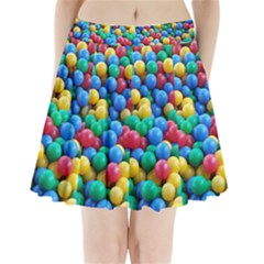 Funny Colorful Red Yellow Green Blue Kids Play Balls Pleated Mini Skirt
