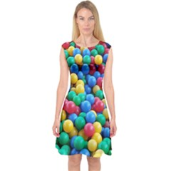 Funny Colorful Red Yellow Green Blue Kids Play Balls Capsleeve Midi Dress