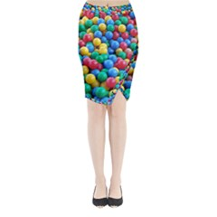 Funny Colorful Red Yellow Green Blue Kids Play Balls Midi Wrap Pencil Skirt