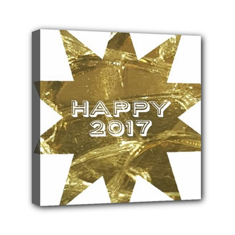Happy New Year 2017 Gold White Star Mini Canvas 6  x 6