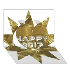 Happy New Year 2017 Gold White Star Heart 3D Greeting Card (7x5)