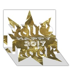 Happy New Year 2017 Gold White Star You Rock 3d Greeting Card (7x5)