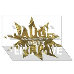 Happy New Year 2017 Gold White Star Laugh Live Love 3D Greeting Card (8x4)