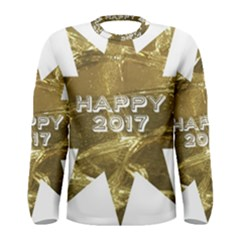 Happy New Year 2017 Gold White Star Men s Long Sleeve Tee