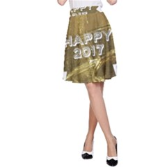 Happy New Year 2017 Gold White Star A-Line Skirt