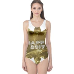 Happy New Year 2017 Gold White Star One Piece Swimsuit