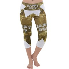 Happy New Year 2017 Gold White Star Capri Yoga Leggings