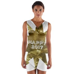 Happy New Year 2017 Gold White Star Wrap Front Bodycon Dress