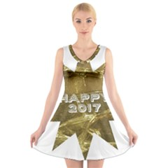 Happy New Year 2017 Gold White Star V-Neck Sleeveless Skater Dress