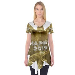 Happy New Year 2017 Gold White Star Short Sleeve Tunic