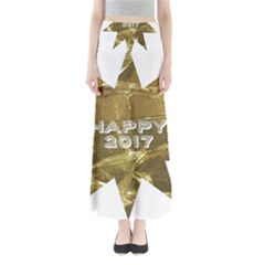 Happy New Year 2017 Gold White Star Maxi Skirts