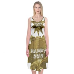 Happy New Year 2017 Gold White Star Midi Sleeveless Dress