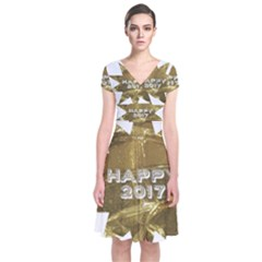Happy New Year 2017 Gold White Star Short Sleeve Front Wrap Dress