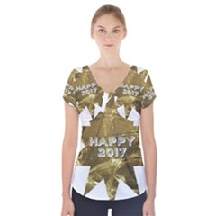 Happy New Year 2017 Gold White Star Short Sleeve Front Detail Top