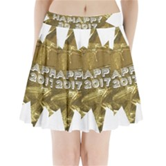 Happy New Year 2017 Gold White Star Pleated Mini Skirt