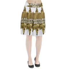 Happy New Year 2017 Gold White Star Pleated Skirt