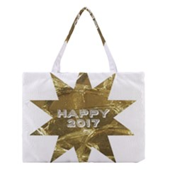 Happy New Year 2017 Gold White Star Medium Tote Bag