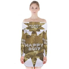 Happy New Year 2017 Gold White Star Long Sleeve Off Shoulder Dress