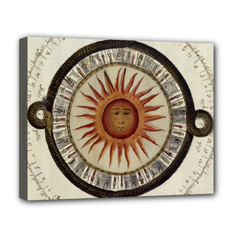 Ancient Aztec Sun Calendar 1790 Vintage Drawing Deluxe Canvas 20  x 16