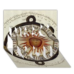 Ancient Aztec Sun Calendar 1790 Vintage Drawing Miss You 3d Greeting Card (7x5)