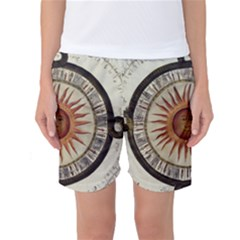 Ancient Aztec Sun Calendar 1790 Vintage Drawing Women s Basketball Shorts