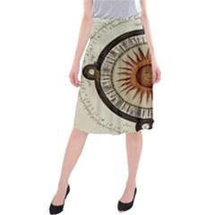 Ancient Aztec Sun Calendar 1790 Vintage Drawing Midi Beach Skirt