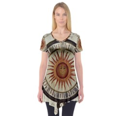 Ancient Aztec Sun Calendar 1790 Vintage Drawing Short Sleeve Tunic