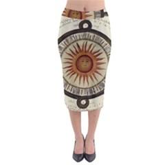 Ancient Aztec Sun Calendar 1790 Vintage Drawing Midi Pencil Skirt