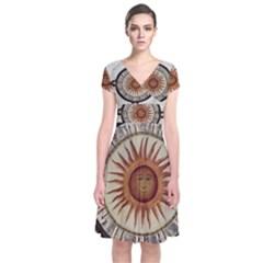 Ancient Aztec Sun Calendar 1790 Vintage Drawing Short Sleeve Front Wrap Dress
