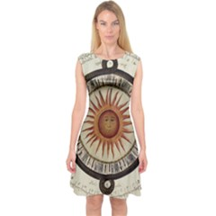 Ancient Aztec Sun Calendar 1790 Vintage Drawing Capsleeve Midi Dress