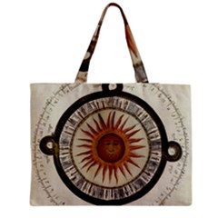 Ancient Aztec Sun Calendar 1790 Vintage Drawing Medium Zipper Tote Bag