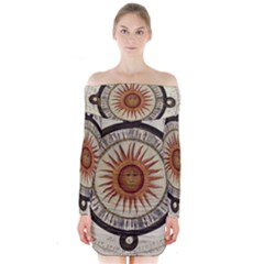 Ancient Aztec Sun Calendar 1790 Vintage Drawing Long Sleeve Off Shoulder Dress