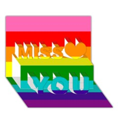 Colorful Stripes Lgbt Rainbow Flag Miss You 3d Greeting Card (7x5)