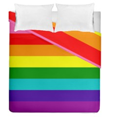 Colorful Stripes Lgbt Rainbow Flag Duvet Cover Double Side (queen Size)