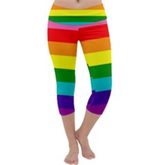 Colorful Stripes Lgbt Rainbow Flag Capri Yoga Leggings