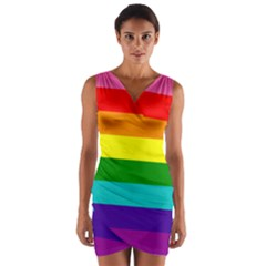 Colorful Stripes Lgbt Rainbow Flag Wrap Front Bodycon Dress