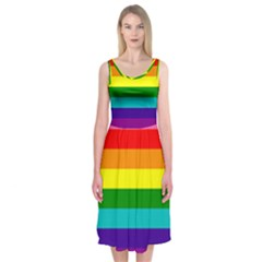Colorful Stripes Lgbt Rainbow Flag Midi Sleeveless Dress