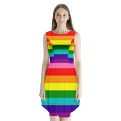 Colorful Stripes Lgbt Rainbow Flag Sleeveless Chiffon Dress