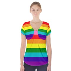 Colorful Stripes Lgbt Rainbow Flag Short Sleeve Front Detail Top