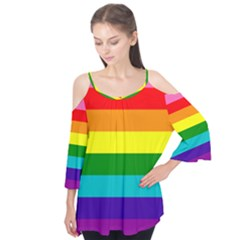 Colorful Stripes Lgbt Rainbow Flag Flutter Tees